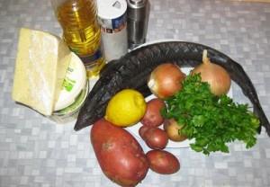 Ингредиенты для приготовления осетрины, запеченной с сыром и овощами фото | Ингредиенты для приготовления осетрины, запеченной с сыром и овощами