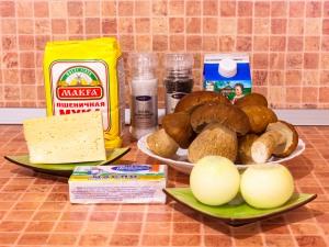 Ингредиенты для жульена из белых грибов фото | Ингредиенты для жульена из белых грибов